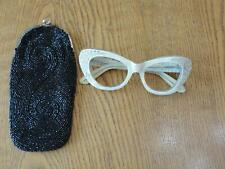 Vintage Rhinestone Eye Glasses Frames W/Black Beaded Case No Lens Frame Only