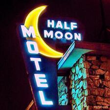 "19"" Neon Style Blue Half Moon Motel No Vacancy in Steel bar hotel Usa sign Vtg"