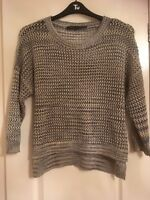 French Connection Christmas Sparkle Jumper Grey Brown M 10 12 14