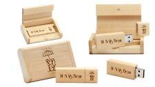 32 GB Personalised 2.0 USB in Engraved Wooden Box - Maple Colour