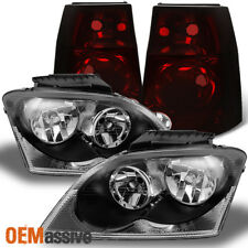 Fits 04 06 Pacifica Black Headlights Dark Red Tail Lights Replacement Pair Set Chrysler
