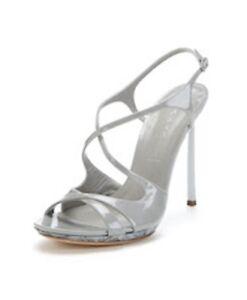 NIB Casadei Women's Patent Leather Stiletto Strappy Sandals, Grey, Size 40.5
