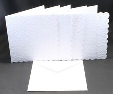 6 x 6  EMBOSSED WHITE CARD BLANKS  SCALLOP EDGED  & WHITE ENVELOPES