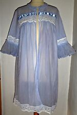 VINTAGE 50S 60S FROTHY NYLON BABYDOLL ROBE DRESSING GOWN PEIGNOIR UK 12 14 16
