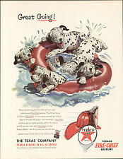 DALMATIAN PUPS AND RUBBER RING OLD USA 1950'S MAGAZINE ADVERT FOR TEXACO FUEL