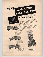 1950 PAPER AD Wannatoy Toy Truck Trailer Van Oil Tanker