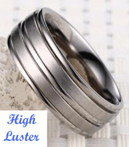 LIFELONG PLATINUM/STEEL ALLOY 7.5MM WIDE WEDDING BAND WITH GROOVED FURROWS SZ 8