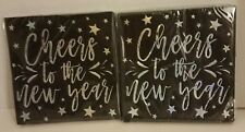 32 count Cheers To The New Year Cocktail Party Beverage Napkins Black & Silver