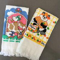 VTG Lot 2 Dish Kitchen Hand Towel 100% Cotton NOS Jelly Bean Panda and Farm Cow