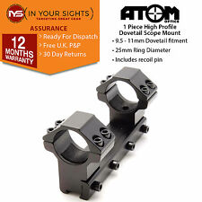 One piece rifle scope mount /1inch,25mm High profile rings fit 9.5-11mm dovetail