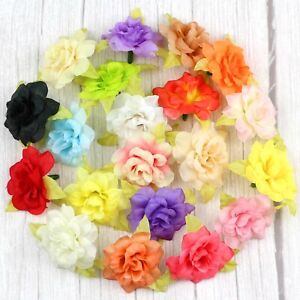 "20/40Pcs Fake Rose 2"" Artificial Silk Small Flowers Heads For Crafts Home Decor"