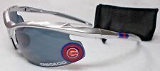 READ LISTING! Chicago Cubs XLGE 3D logo on XTREME MET. SILVER Blade Sunglasses!