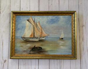 Vtg Maritime Seascape Painting Nautical Ship Fisherman Sailboat Minnie Stratton