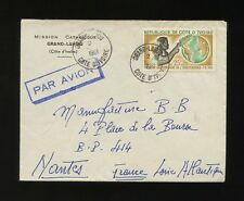 FRENCH IVORY COAST 1961 CATHOLIC MISSION ENVELOPE GRAND LAHOU..AIRMAIL HANDSTAMP