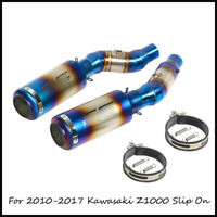 Blue Exhaust Pipe for 2010-2017 Kawasaki Z1000 Motorcycle Mid Tail Pipe Slip On