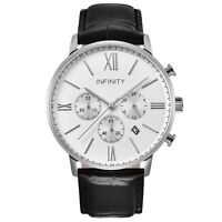 IInfinity SP 01 Pearlwhite + Black Men's Classic Chronograph Watch-Black Leather