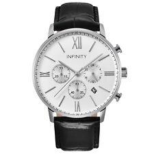 IInfinity SP 01 Pearlwhite + Black Men's Classic Chronograph Watch-Black Leather