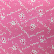 Skelanimals Flannel Fabric Spoiled Rotten Baby Pink 2 Yards David Textiles