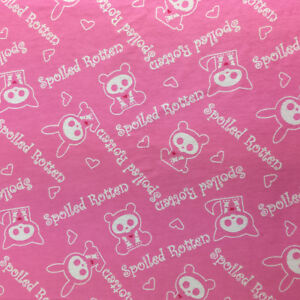 Skelanimals Flannel Fabric Spoiled Rotten Baby Pink 4 Yards David Textiles