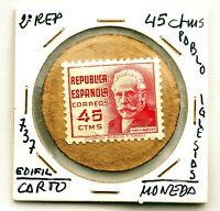 Spain-Guerra civil. Sello moneda. Republica. Pablo Iglesias 45 Centimos EBC/XF