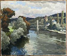 Tableau Dordogne Paysage au Pont Groléjac Peinture signée Gabriel Vié 1888-1973