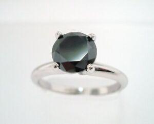 Anniversary Certified Diamond Black Round Ring Engagement Birthday 2.19Ct Silver