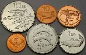 ICELAND 5 Aurar / 10 Kronur 1981/2007   - Lot of 6 Coins - UNC *