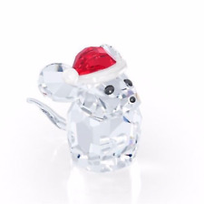 NIB Swarovski Holiday Christmas Crystal Figurine, Mouse With Santa Hat #5135858