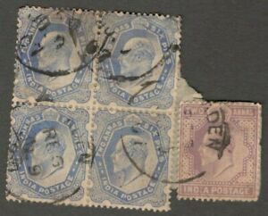 AOP Aden : India used in ADEN KEdVII 1902 2a & 2a6p block of 4 on piece