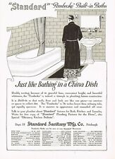 1910s Original Vintage Standard Bathtub Retro Bathroom Decor Art Print Ad c