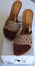 Indian Sandales Mariage Sandale Saree Chaussures asiatique Doré Fête Talon Taille UK 5 unze