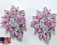6CT Pink Sapphire & Topaz 925 Solid Sterling Silver Earrings Jewelry, Z-10
