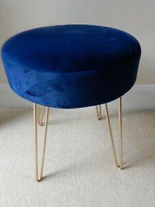 Round Ottoman Pouffe/ Dressing Table Stool, Royal Blue, Metal Legs