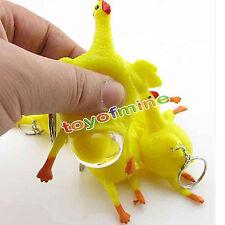 Pollo e uova di gomma Portachiavi Animal Joke stress giocattolo calza