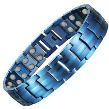Mens Blue Titanium Strong Magnetic Therapy Bracelet | Arthritis & Carpal Tunnel
