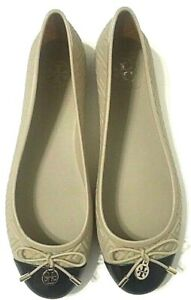 Tory Burch Jelly Ballet Flats Beige Two Tone Bow Slip On Womens 12168773 Size 9M