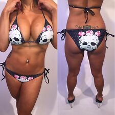 Connie's Skulls and Roses Bikini Dark Blue String Bikini L