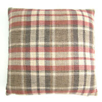 """Red / Brown / Cream Scottish Tartan Checked Woven 17"""" Cushion Covers"""