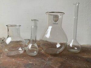4 Vintage Laboratory Chemistry Glass Beaker Glassware Lab Flasks