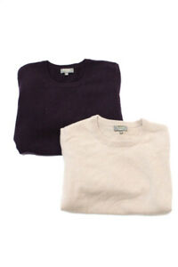 N Peal Womens Cashmere Sweater Purple Beige Size Medium Lot 2