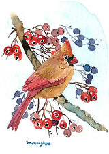 ACEO Limited Edition - Perching cardinal, Bird art print of watercolor ACEO