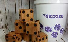 Yardzee Premium Outdoor 6 Cedar Wood Dice Yard Lawn Game Bucket Purple Farkle