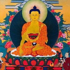 Tibetan Buddhist Buddha Silk Gild Thangka Thanka Sakyamuni Amulet Scroll 35CM