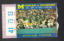Vintage Michigan Wolverines vs Colorado September 21 1974 Vintage Ticket Stub