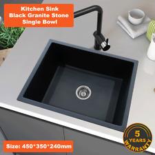 450*350*240 Kitchen Sink Laundry Black Granite Stone Sinks Single Bowl Basin