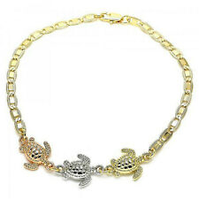 Brand New 9CT Gold filled Fancy Anklet, Turtle Design, Tri Tone E73