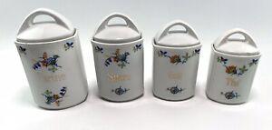4 X Art Deco French Ceramic Kitchen Cannisters Floral Flour Tea Coffee Sugar