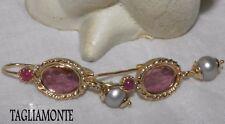 TAGLIAMONTE Solid 14K Gold Earrings*Purple Cupid Venetian Intaglio +Ruby&Pearl