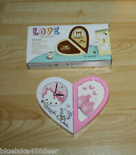 Hello Kitty Alarm Clock w Photo Holder  Changeable Heart Shaped to Oblong  NIB