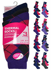 Ladies Thermal Socks New Womens 3 Pack Patterned Winter Stocks One Size UK 4-7